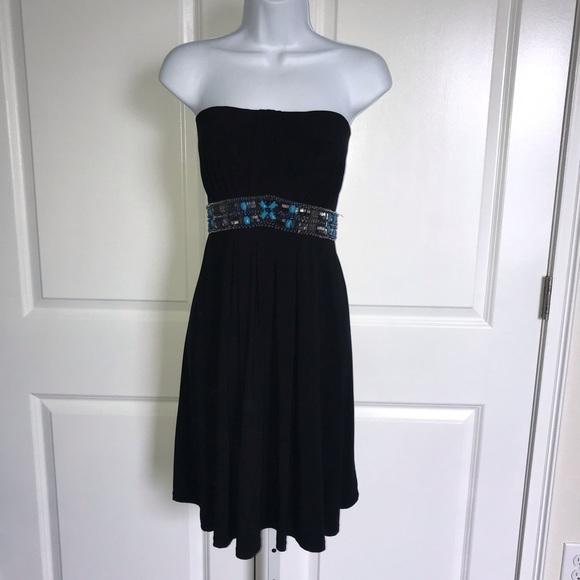WHBM Strapless Embellished Black Dress Size